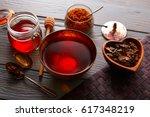 Bancha Tea Served In Golden...