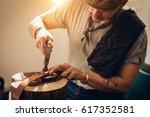 caucasian leather craft... | Shutterstock . vector #617352581