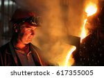 hard work in the foundry ... | Shutterstock . vector #617355005