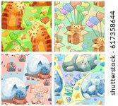 cute seamless vector pattern... | Shutterstock .eps vector #617358644