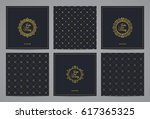 luxury retro wedding cards with ... | Shutterstock .eps vector #617365325