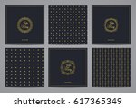 luxury retro wedding cards with ... | Shutterstock .eps vector #617365349