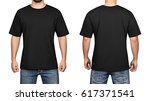 black t shirt on a young man... | Shutterstock . vector #617371541