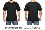 black t shirt on a young man...   Shutterstock . vector #617371541
