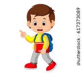 cute boy go to school   Shutterstock .eps vector #617373089