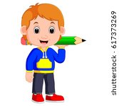boy holding big pencil   Shutterstock .eps vector #617373269