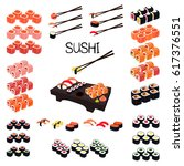 sushi set. set of rolls and... | Shutterstock .eps vector #617376551