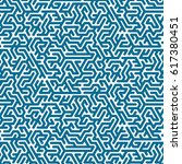 blue labyrinth pattern on white ... | Shutterstock .eps vector #617380451