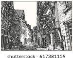 european medieval city street... | Shutterstock .eps vector #617381159