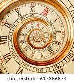 antique old spiral clocks... | Shutterstock . vector #617386874