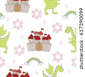 adorable seamless pattern with... | Shutterstock .eps vector #617390099