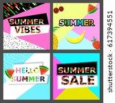 summer memphis pattern. set  ... | Shutterstock .eps vector #617394551