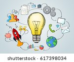 hand drawn lightbulb with... | Shutterstock . vector #617398034