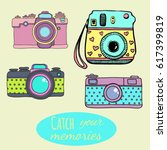 vector retro hand drawn hipster ... | Shutterstock .eps vector #617399819