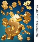 golden usd dollars falling...   Shutterstock . vector #61740496