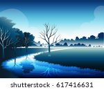 river across grassland and tree ... | Shutterstock .eps vector #617416631
