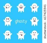 set of white emoji ghost on... | Shutterstock .eps vector #617425541