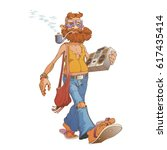 hipster  hippie walks with a... | Shutterstock .eps vector #617435414