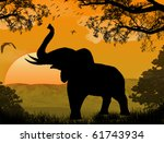 Silhouette View Of Elephant At...