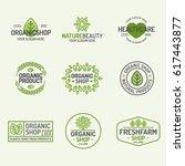 organic shop and fresh farm... | Shutterstock .eps vector #617443877