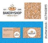 bakery shop set with baking... | Shutterstock .eps vector #617443895