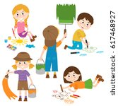 set of isolated children artist ... | Shutterstock .eps vector #617468927