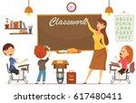 teacher teaching students in... | Shutterstock .eps vector #617480411