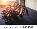 group of athletic adult men and ... | Shutterstock . vector #617483141