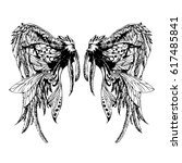 wings  hand drawn detailed... | Shutterstock .eps vector #617485841