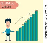 man standing by chart  graph ... | Shutterstock .eps vector #617495675