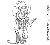 cute girl in a cowboy suit is... | Shutterstock .eps vector #617504201