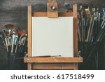 artistic equipment in a artist... | Shutterstock . vector #617518499