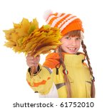Girl in autumn orange hat holding leaves. Isolated. - stock photo