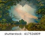 3d illustration of landscape... | Shutterstock . vector #617526809