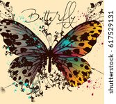 butterfly vector design with... | Shutterstock .eps vector #617529131