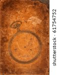 Old worn leather background with an antique pocket watch overlay. - stock photo