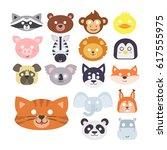 animals carnival mask vector... | Shutterstock .eps vector #617555975