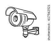 doodle security cameras | Shutterstock .eps vector #617562521