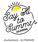 say hi to summer typography | Shutterstock .eps vector #617565449