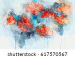 abstract red poppy flowers on... | Shutterstock . vector #617570567