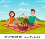 happy couple of young people on ... | Shutterstock .eps vector #617601191
