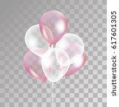 pink white transparent balloon | Shutterstock .eps vector #617601305