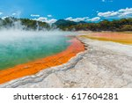 water boiling in champagne pool ... | Shutterstock . vector #617604281