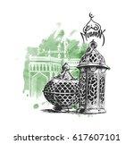 eid mubarak celebration ... | Shutterstock .eps vector #617607101