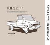 toyota old pickup vector outline