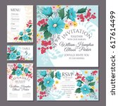 set of floral wedding cards... | Shutterstock .eps vector #617614499