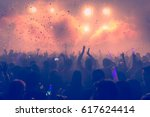dancing party crowd people... | Shutterstock . vector #617624414