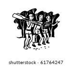 boys with oars   retro clip art | Shutterstock .eps vector #61764247
