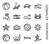 beach icons set. set of 16... | Shutterstock .eps vector #617648051