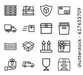 parcel icons set. set of 16... | Shutterstock .eps vector #617653709